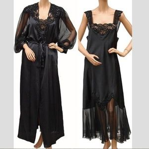Christian Dior Black Negligee Nightgown Peignoir